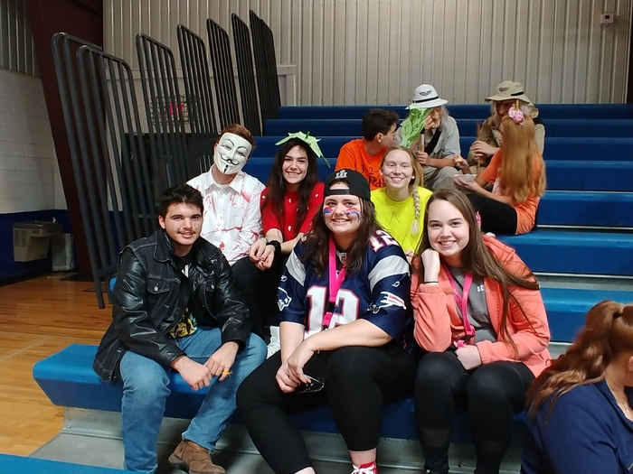 The Seniors enjoying the Halloween costume contest.