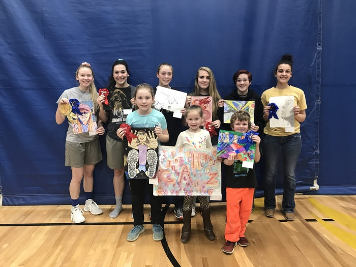 All of the winners of the art show
