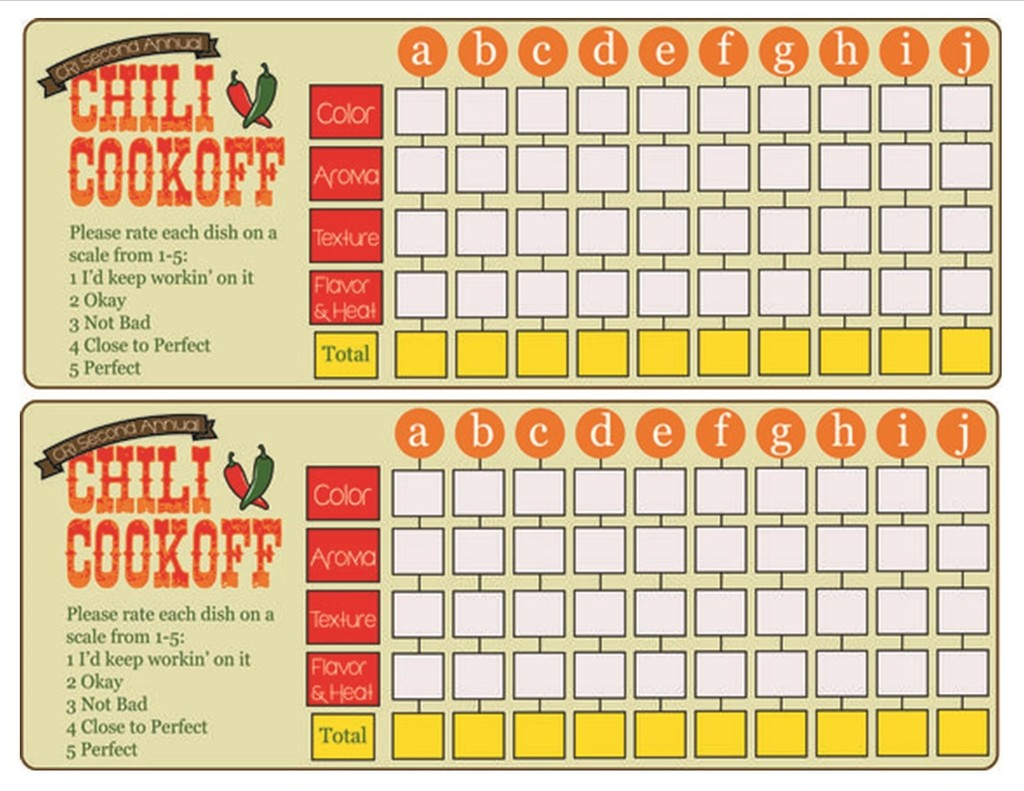 Chili Cook-off Scoring Guide