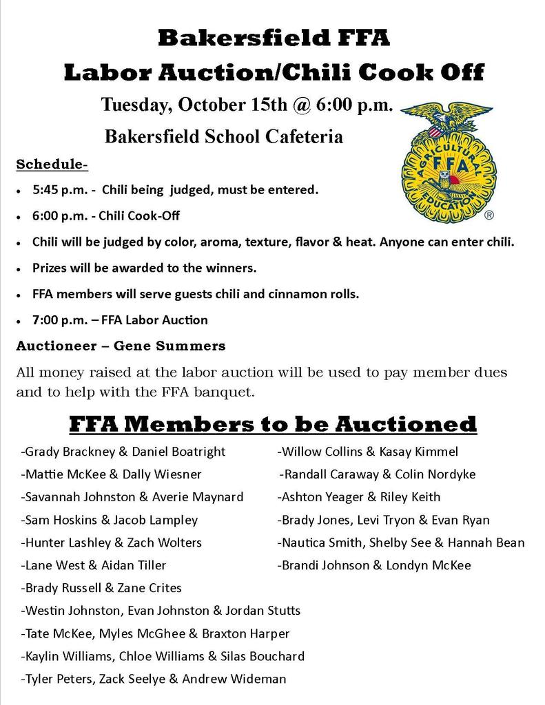 Labor Auction Flyer