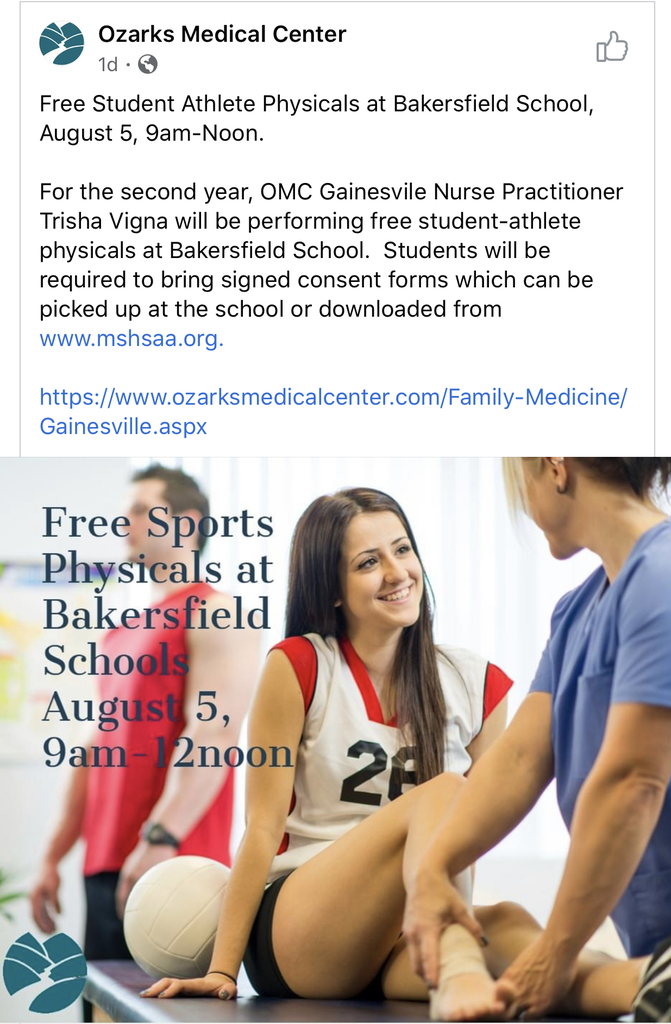 High School and Middle School Sports Physicals